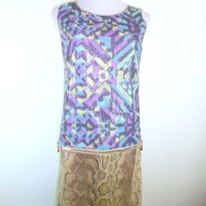 NEW Custo Barcelona animal print sequin dress 2 M